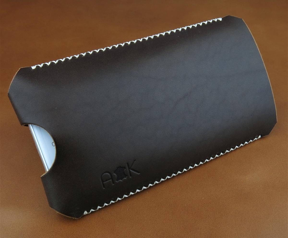 Kožené pouzdro A-K pro HTC Desire 626s, černé s křížkovým stehem