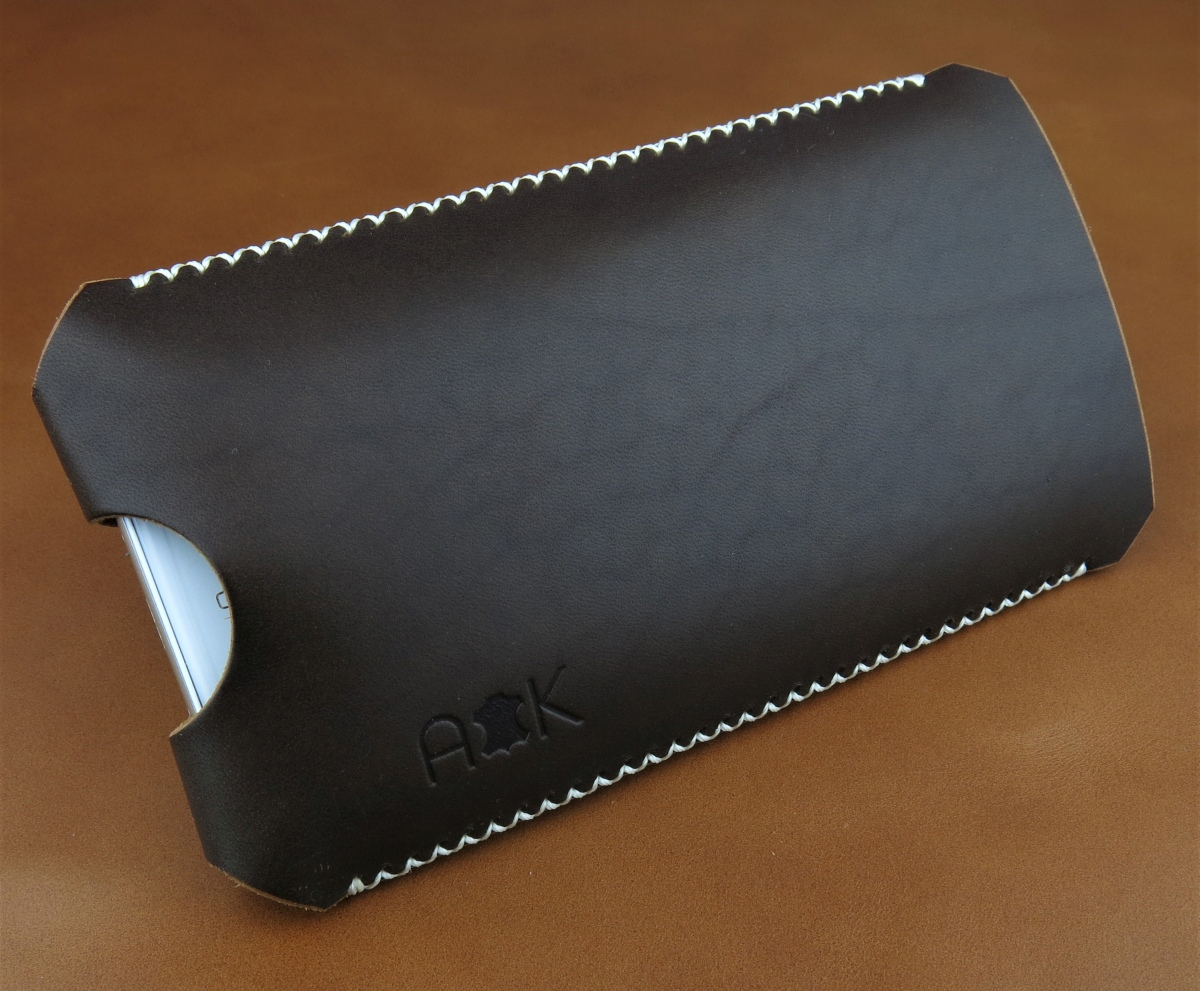 Kožené pouzdro A-K pro Nokia 6.1, černé s křížkovým stehem