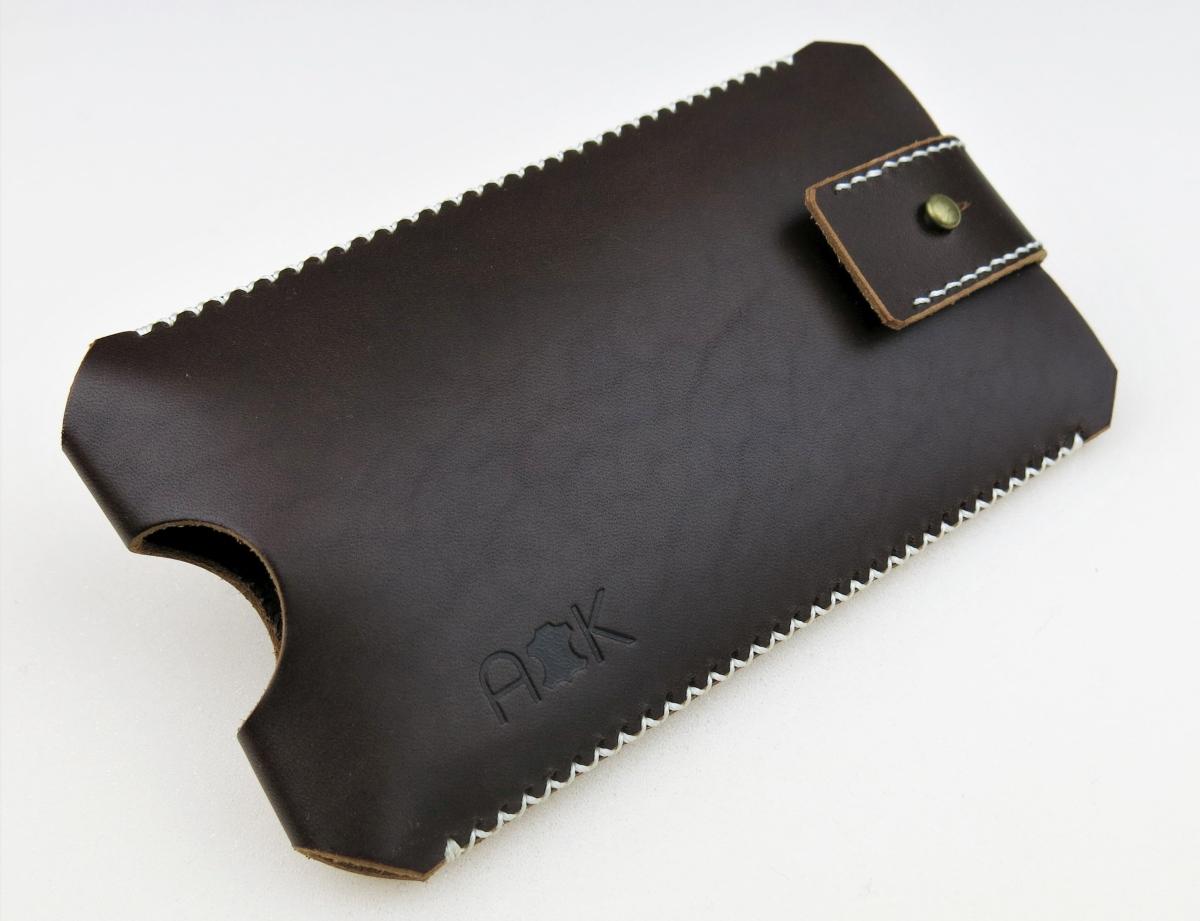 Kožené pouzdro A-K se zavíráním Apple iPhone 4s, hnědé s křížkovým stehem