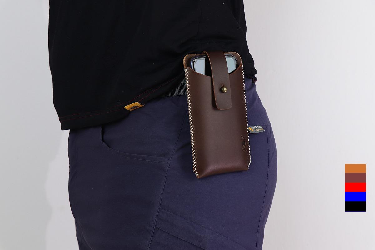 Kožené pouzdro A-K pro Apple iPhone 11 Pro Max, modré na opasek
