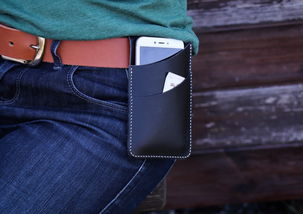 Kožené pouzdro na opasek pro mobilní telefon. 5 barev na výběr