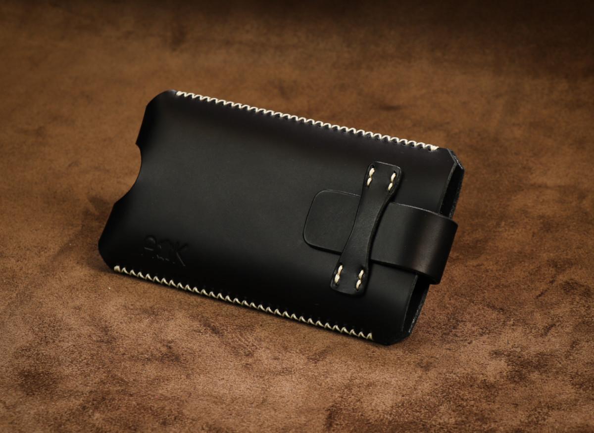 Kožené pouzdro A-K se zavíráním Samsung Galaxy S9, černé s křížkovým stehem