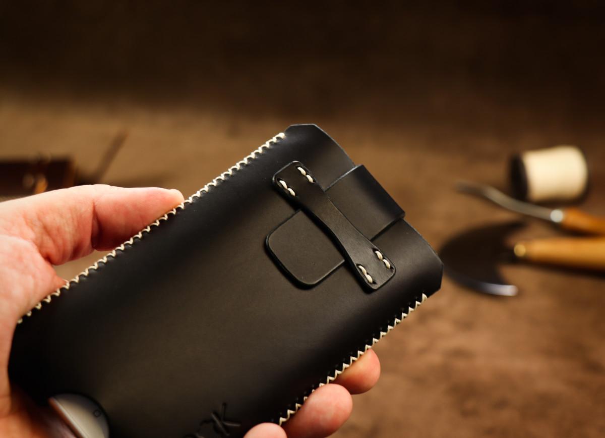 Kožené pouzdro A-K se zavíráním Asus Zenfone 3 Zoom ZE553KL, černé s křížkovým stehem