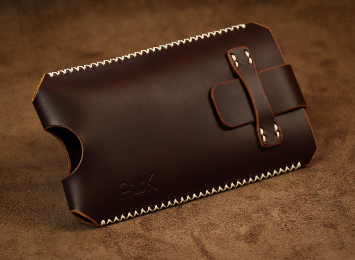 Kožené pouzdro A-K se zavíráním HTC Desire 820G+ dual sim, hnědé s křížkovým stehem