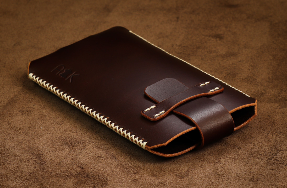 Kožené pouzdro A-K se zavíráním Xiaomi Mi 9, hnědé s křížkovým stehem