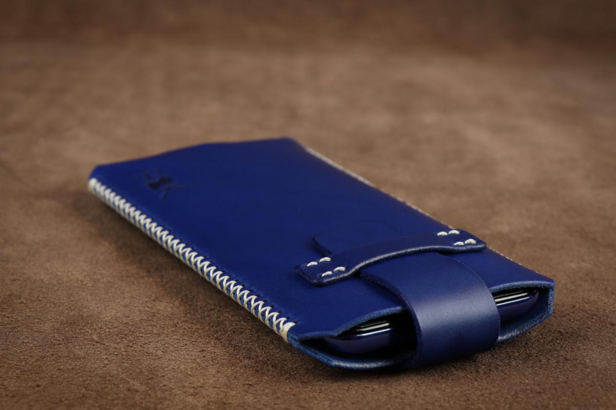 Kožené pouzdro A-K se zavíráním HTC Desire 626s, modré s křížkovým stehem