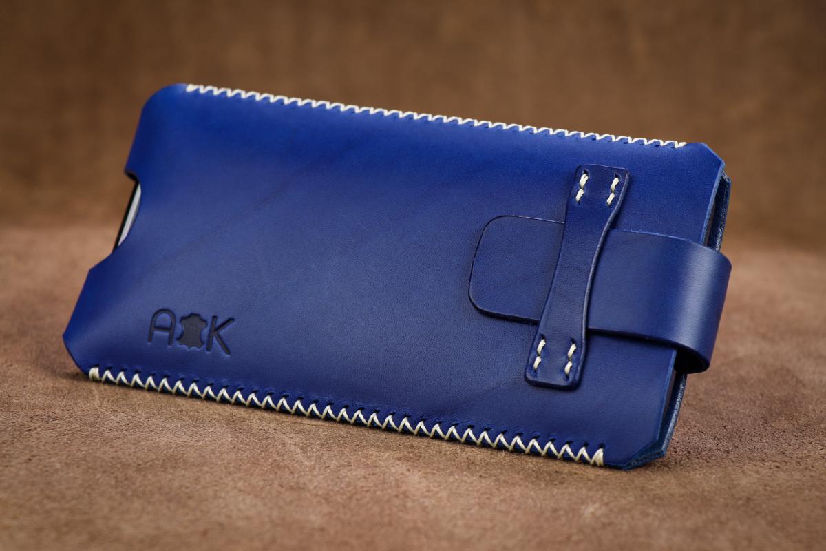 Kožené pouzdro A-K se zavíráním Apple iPhone Xr, modré s křížkovým stehem