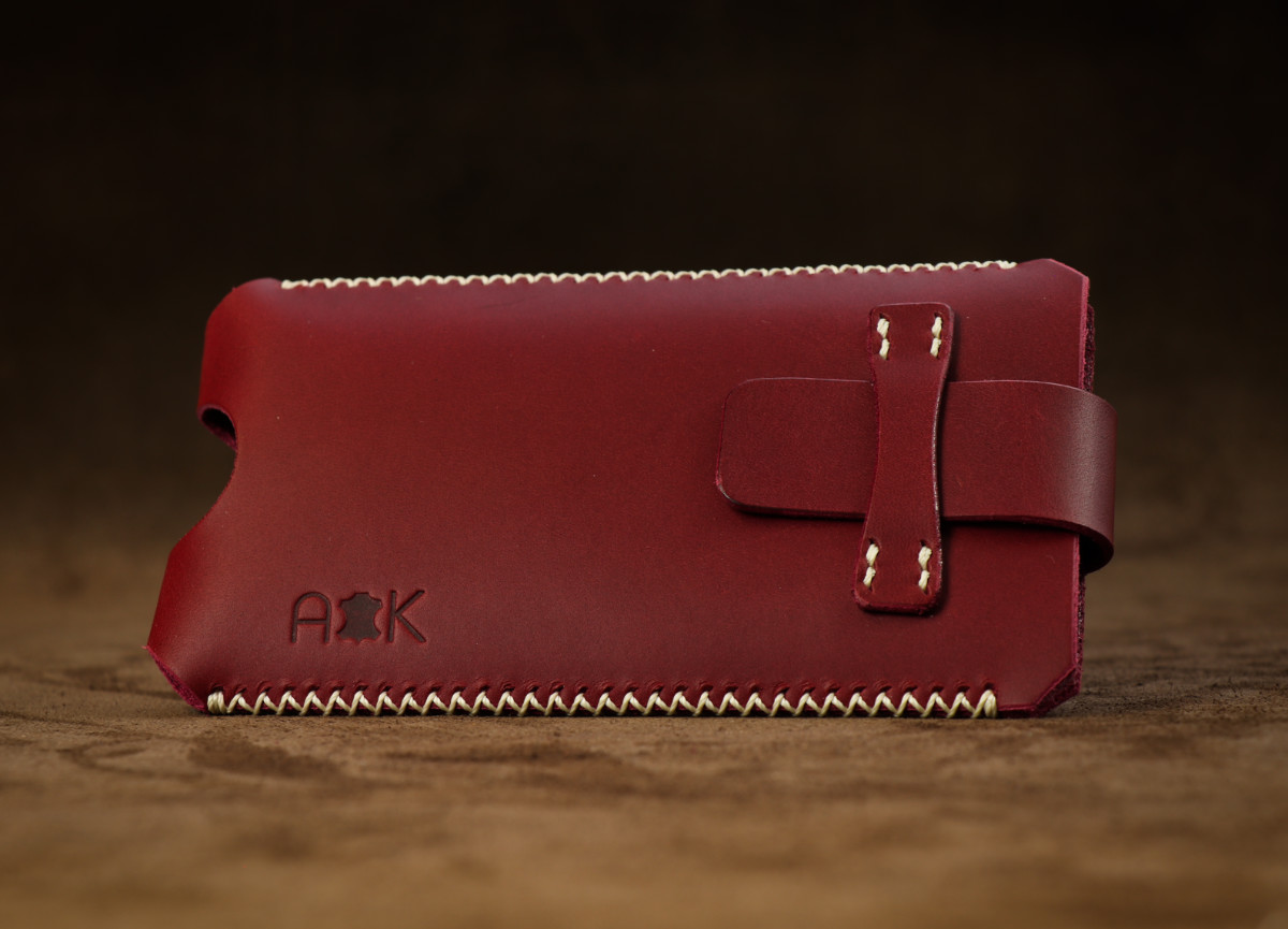 Kožené pouzdro A-K se zavíráním Xiaomi Mi 9, vínové s křížkovým stehem