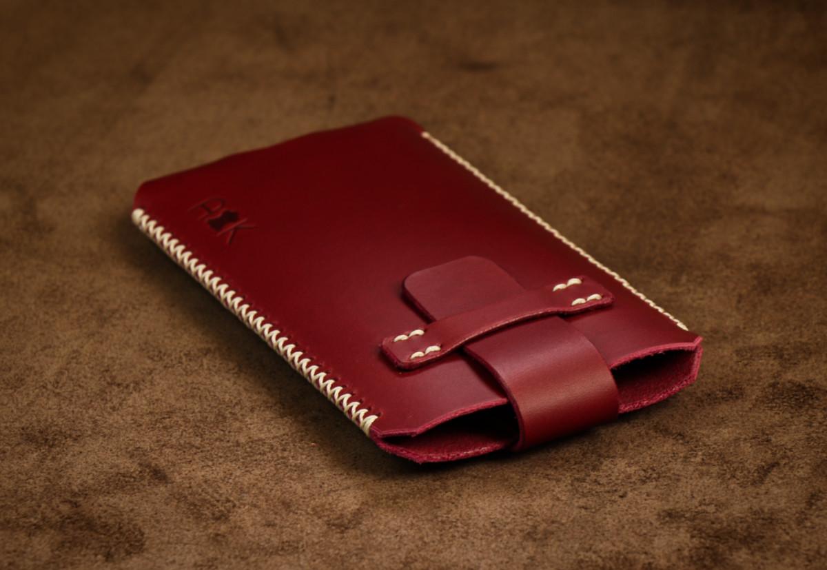 Kožené pouzdro A-K se zavíráním Nokia 6.1, vínové s křížkovým stehem