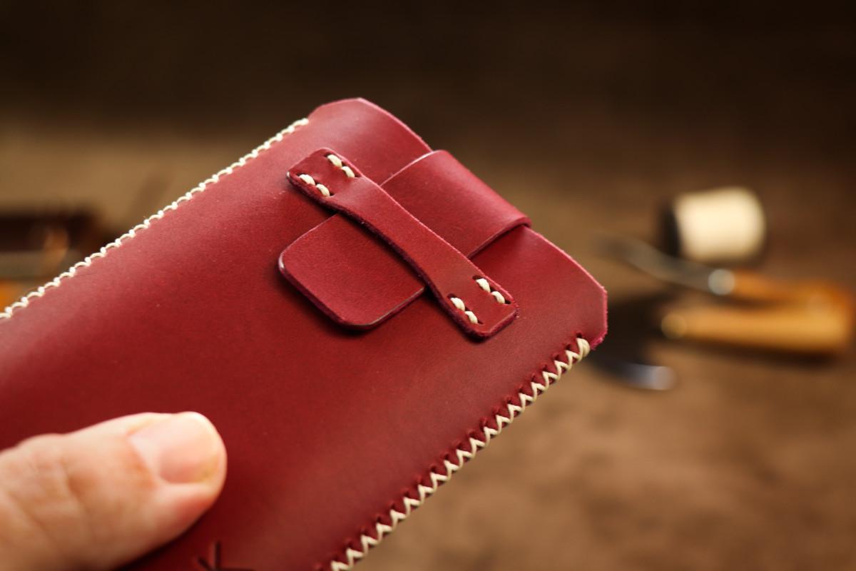 Kožené pouzdro A-K se zavíráním Xiaomi Redmi 4X, vínové s křížkovým stehem