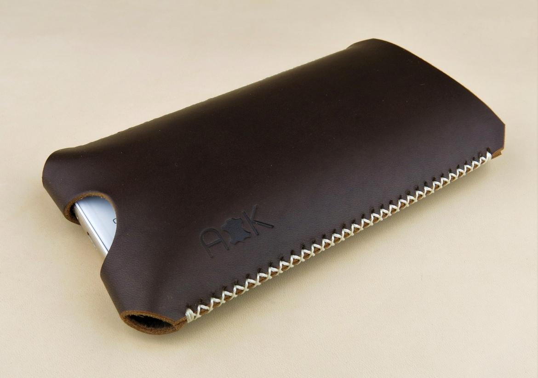Kožené pouzdro A-K pro Evolveo StrongPhone G2, tmavě hnědé