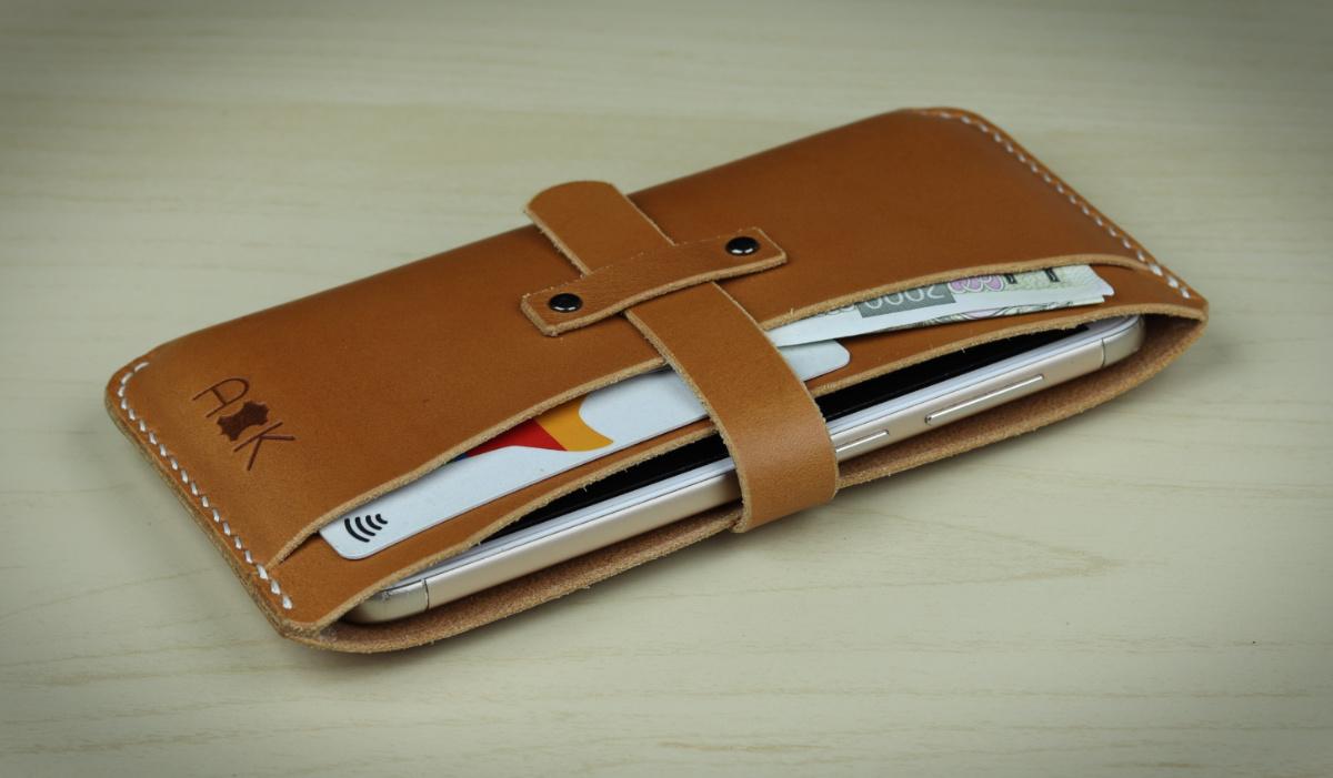 Kožené pouzdro A-K pro Samsung Galaxy Note 9 N960F, světle hnědá barva na mobil a karty
