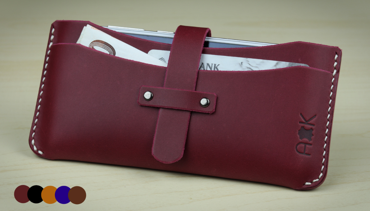 Kožené pouzdro A-K pro HTC Desire 728 Ultra, vínová barva na mobil a karty
