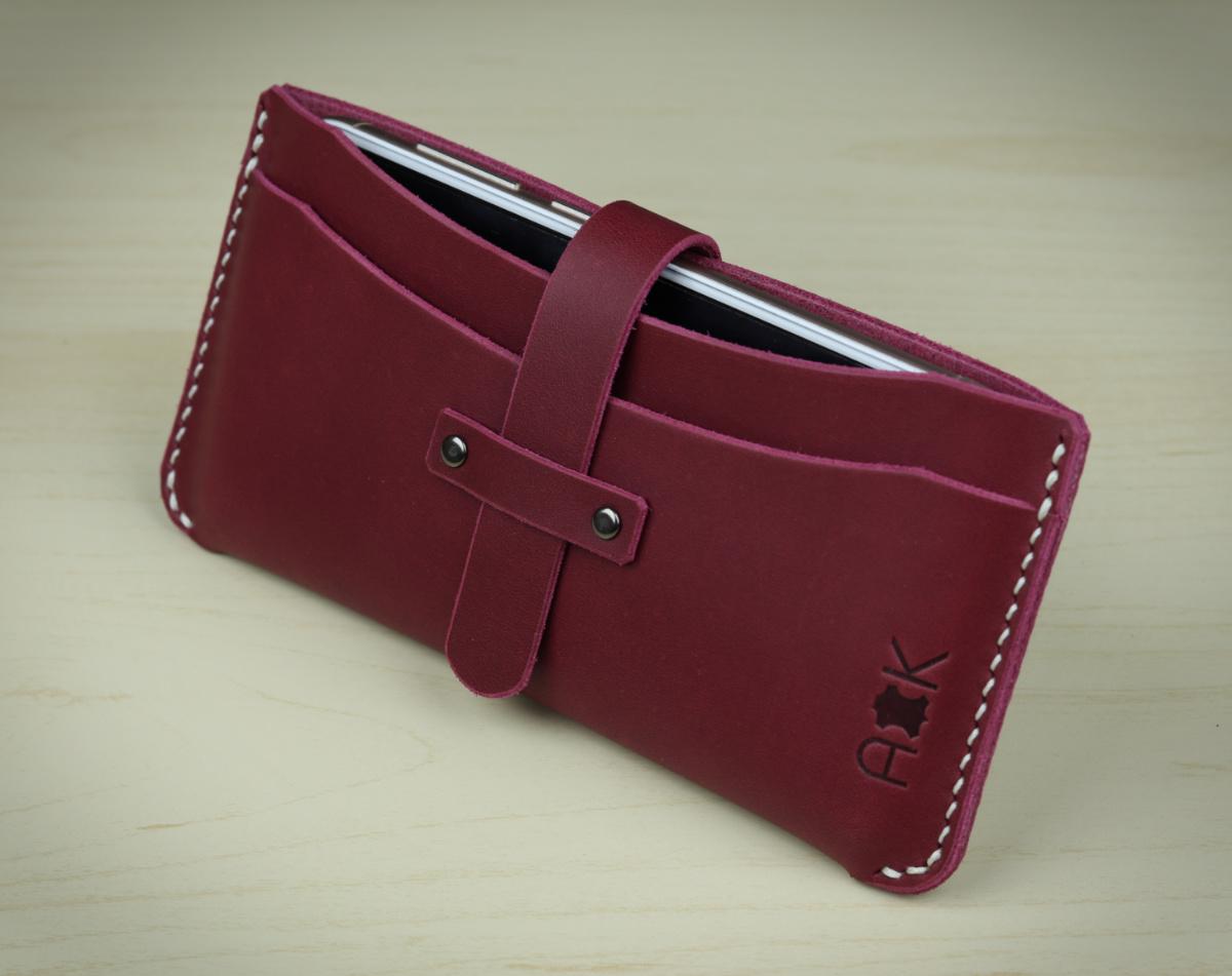 Kožené pouzdro A-K pro HTC Desire 626s, vínová barva na mobil a karty
