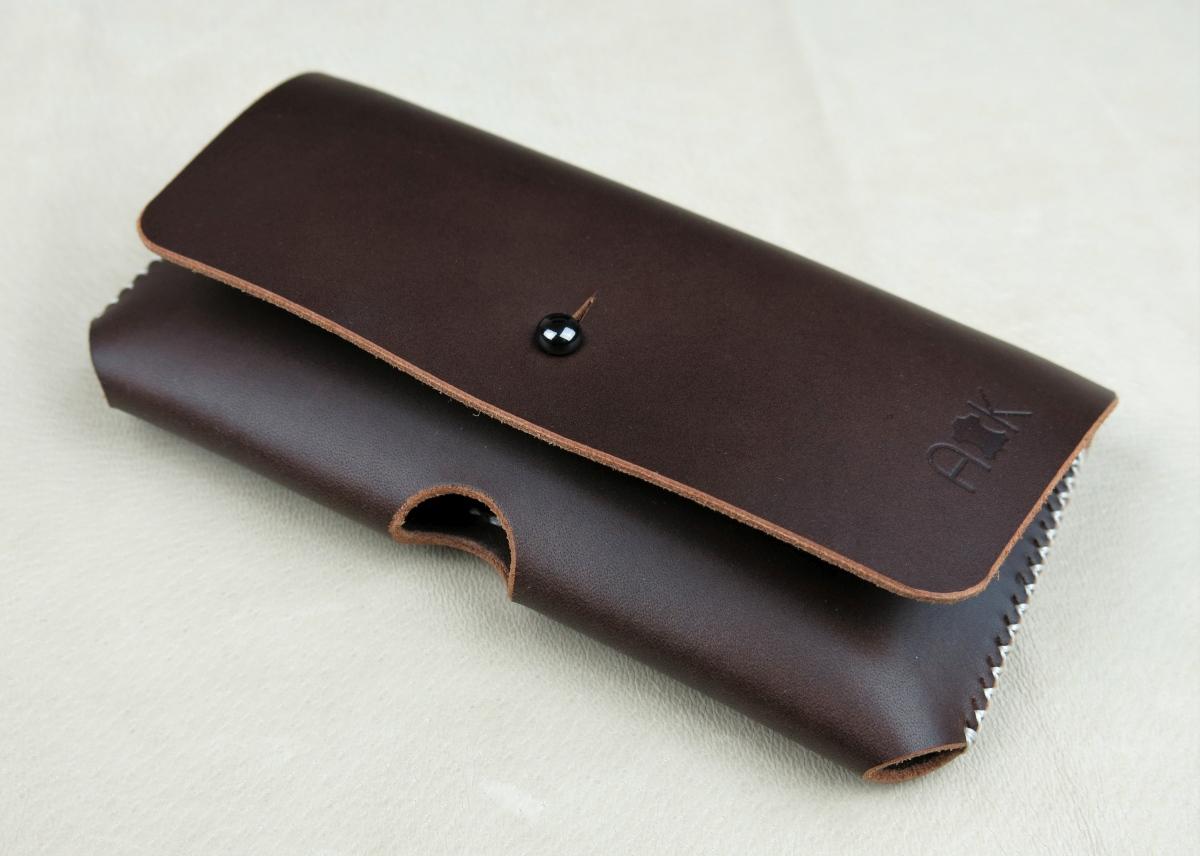 Kožené pouzdro A-K pro Huawei P20 Lite, tm. hnědé na opasek