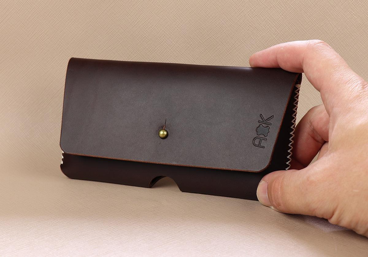 Kožené pouzdro A-K pro Xiaomi Mi 9, tm. hnědé na opasek