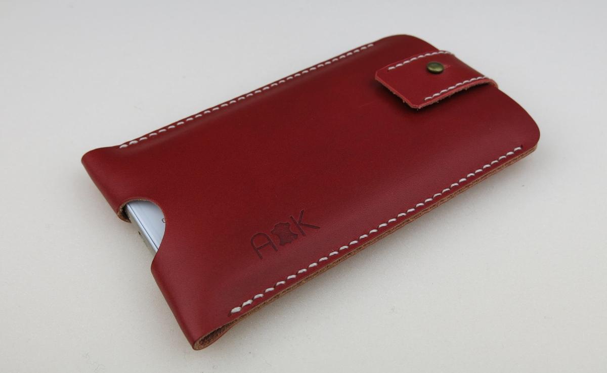 Kožené pouzdro A-K se zavíráním Apple iPhone 4s, červené