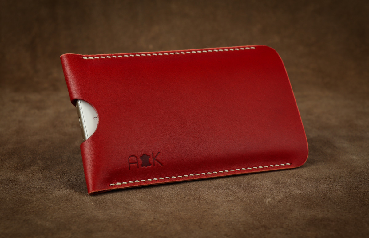 Pouzdro A-K z pravé kůže pro Huawei P9 Plus, červené