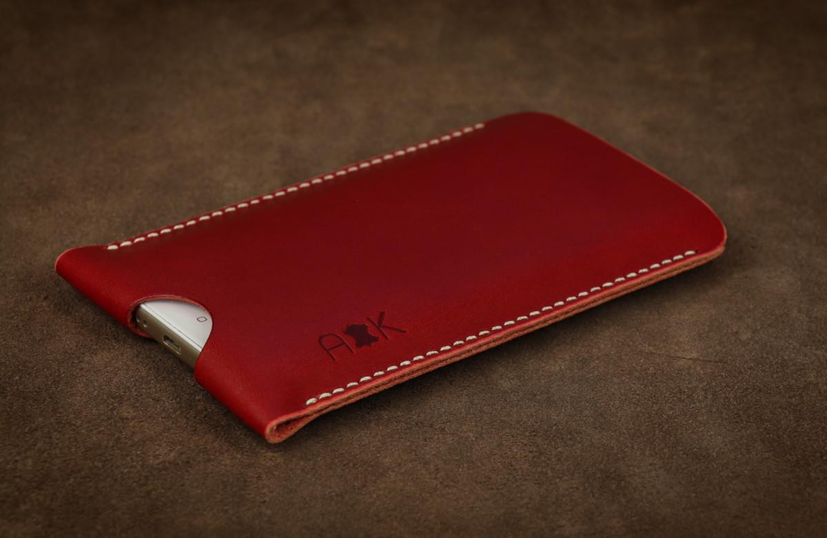 Pouzdro A-K z pravé kůže pro Microsoft Lumia 640 XL LTE Dual SIM, červené