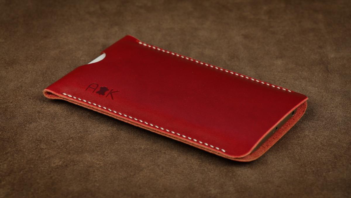 Pouzdro A-K z pravé kůže pro Lenovo K6 Power, červené
