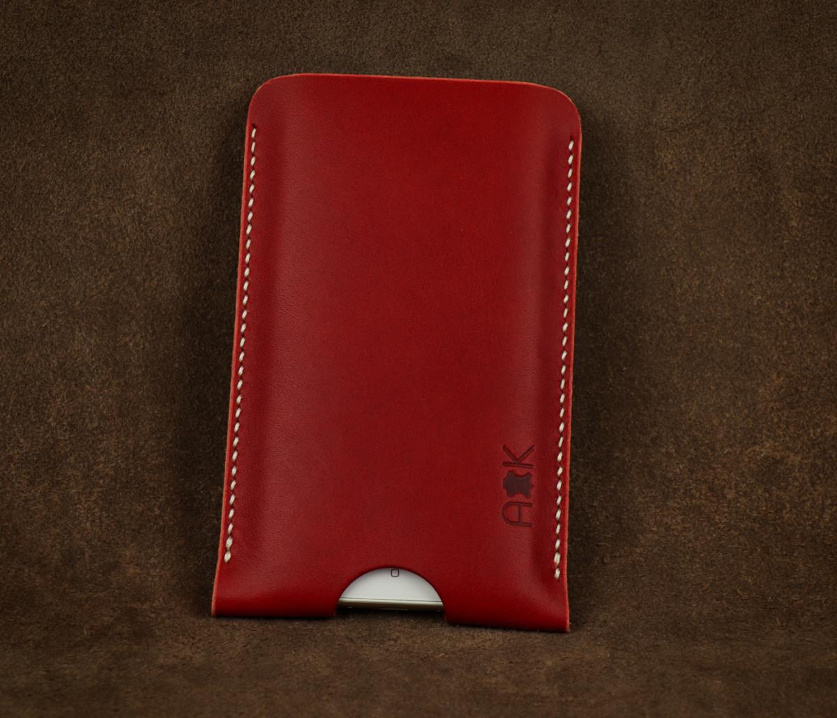 Pouzdro A-K z pravé kůže pro Asus Zenfone 4 Selfie ZD553KL, červené