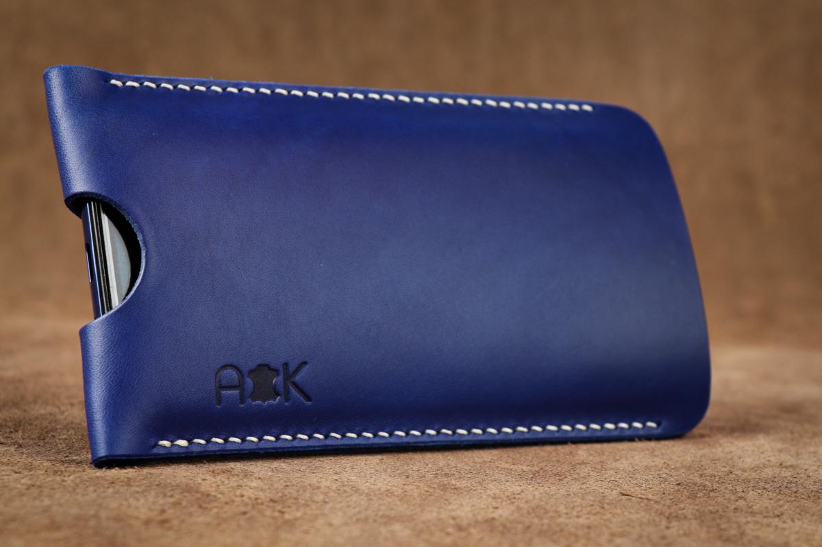 Pouzdro A-K z pravé kůže pro Microsoft Lumia 640 LTE Dual SIM, modré