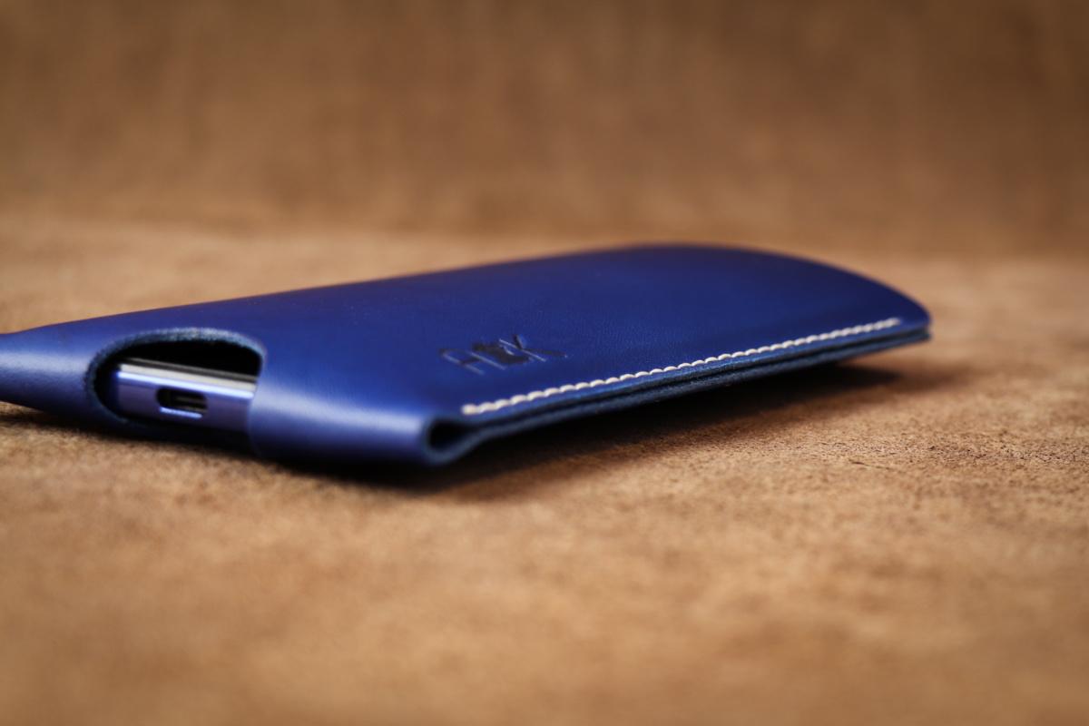 Pouzdro A-K z pravé kůže pro Apple iPhone 6s, modré