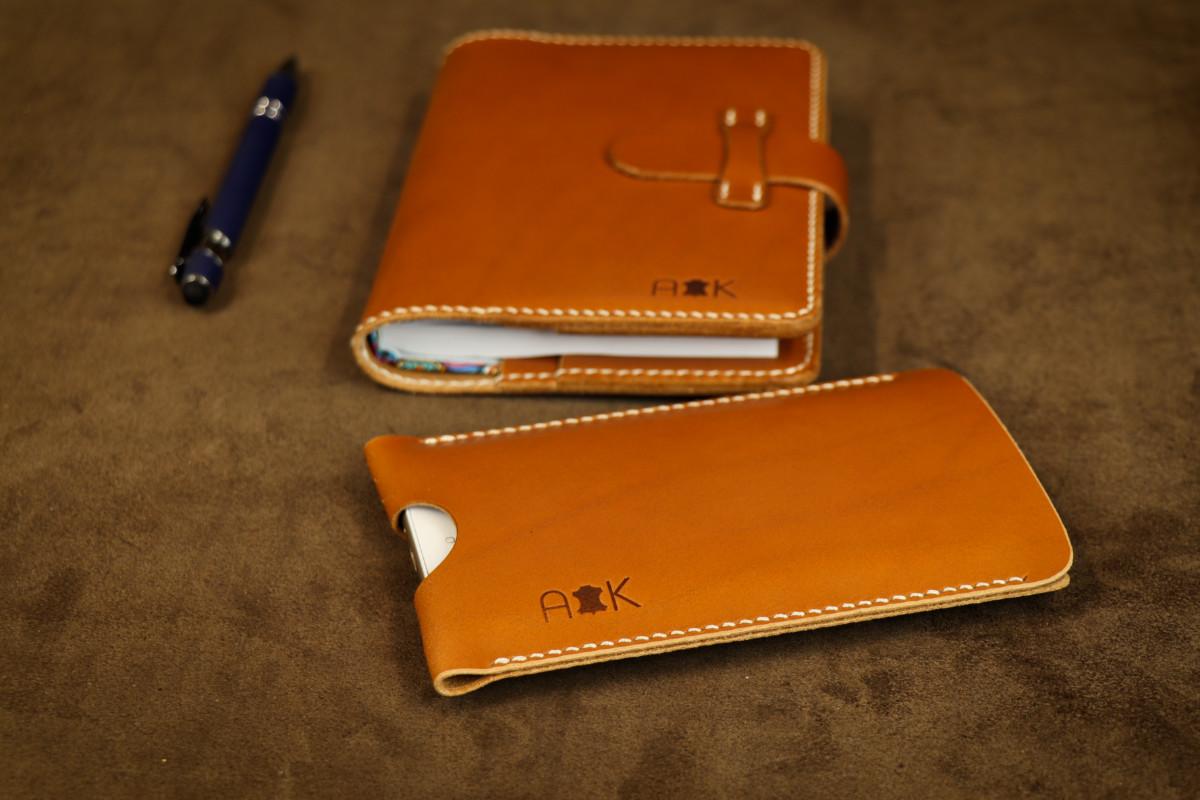 Pouzdro A-K z pravé kůže pro HTC Desire 626s, světle hnědé