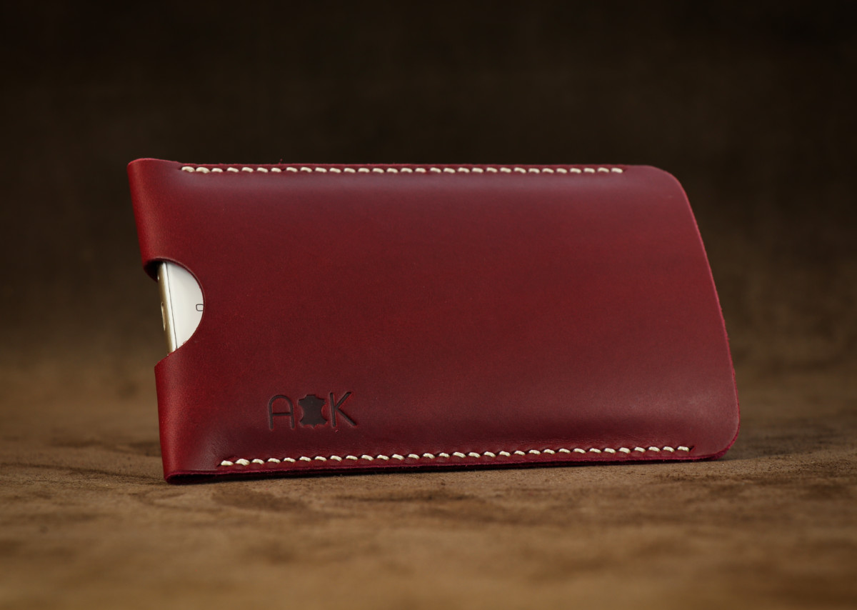 Pouzdro A-K z pravé kůže pro Huawei P9 Plus, vínové