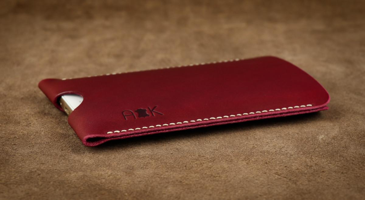 Pouzdro A-K z pravé kůže pro Microsoft Lumia 950 XL, vínové