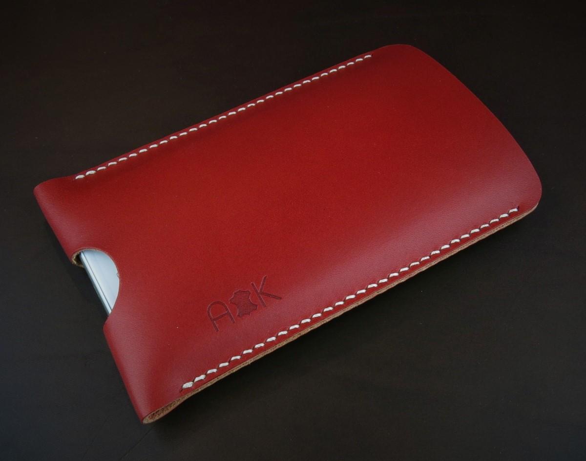 Pouzdro A-K z pravé kůže pro Asus Zenfone 3 Zoom ZE553KL, červené