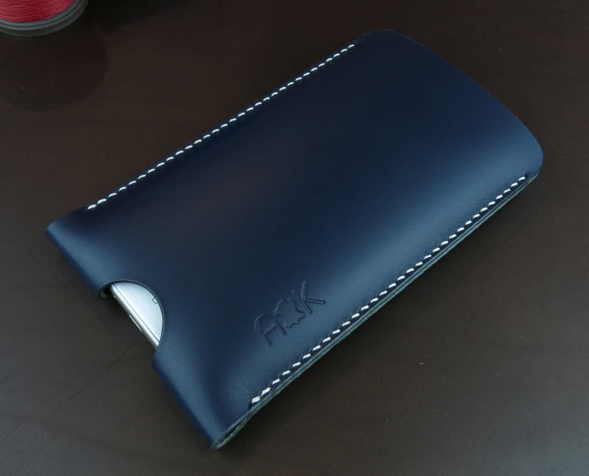 Pouzdro A-K z pravé kůže pro Asus Zenfone 3 Zoom ZE553KL, modré