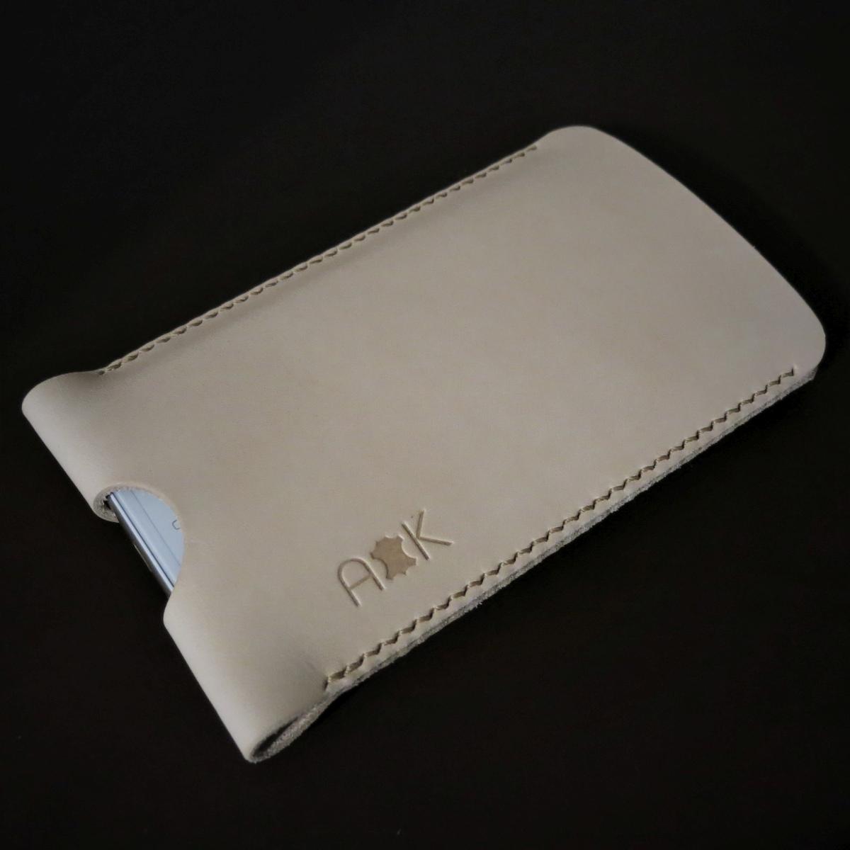 Pouzdro A-K z pravé kůže pro Asus Zenfone Go T500, přírodní
