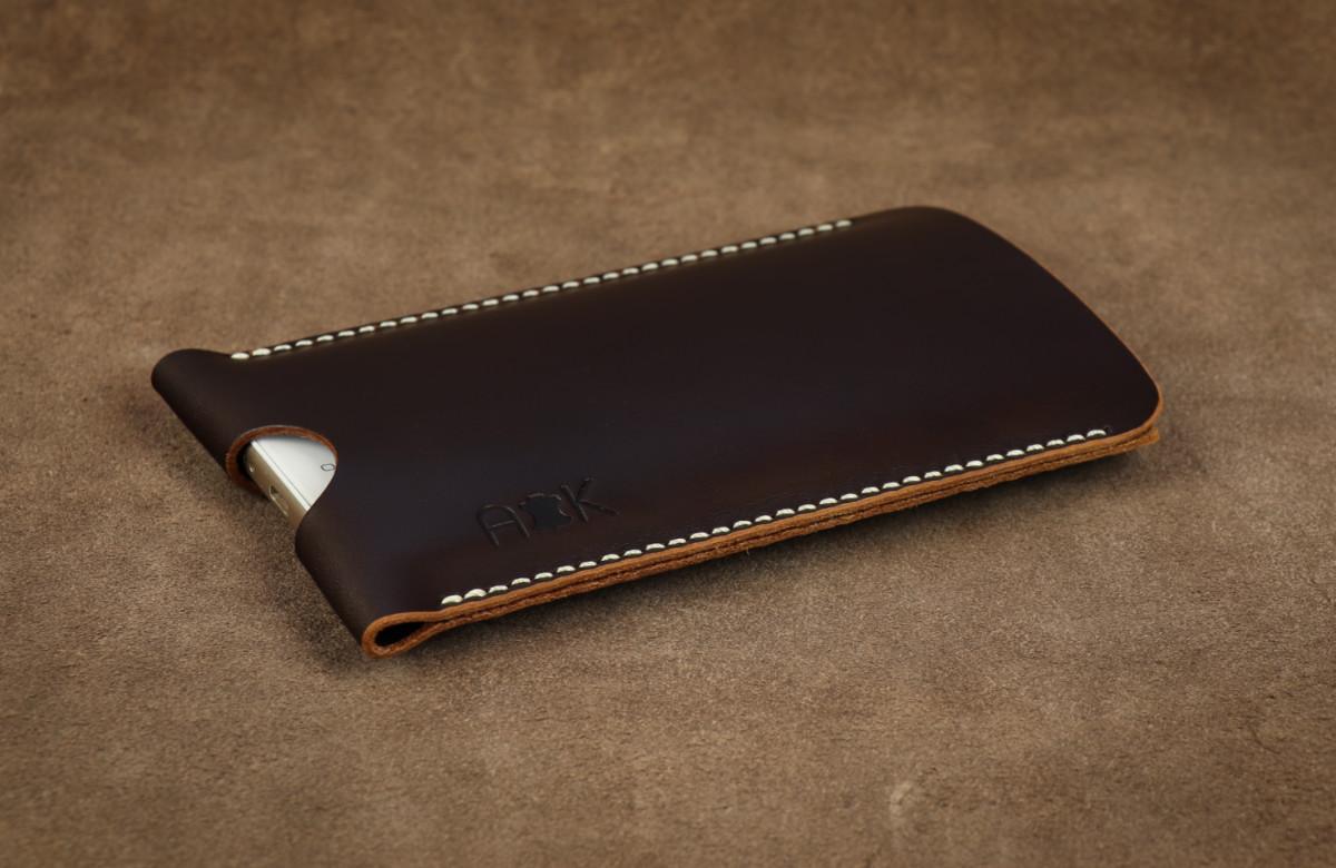 Pouzdro A-K z pravé kůže pro Lenovo K6 Power, hnědé