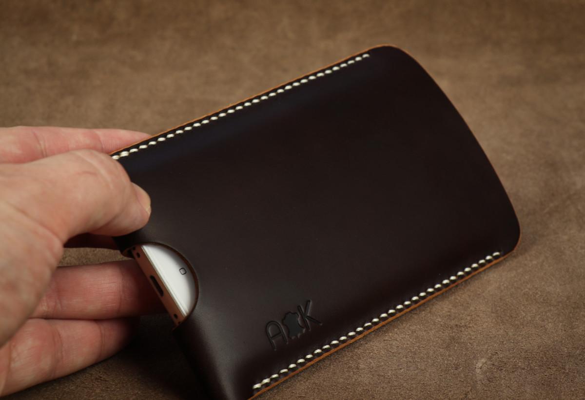 Pouzdro A-K z pravé kůže pro Lenovo K8 Plus, hnědé