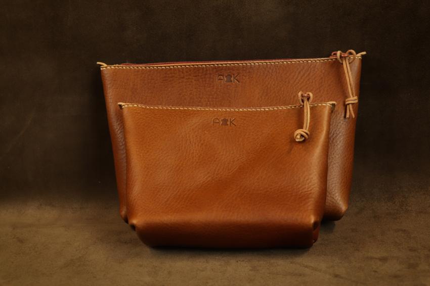 Kožená kosmetická taška na zakázku