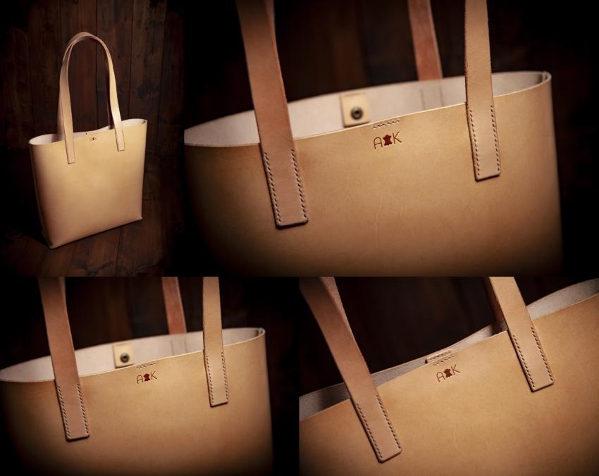 kožená taška na zakázku - přírodní kůže